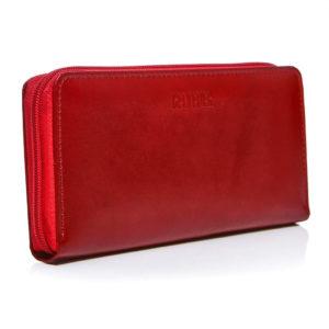 portfel skóra czerwony