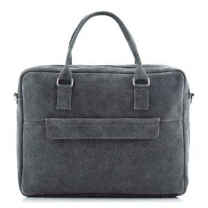 Skórzana torba na laptopa szara