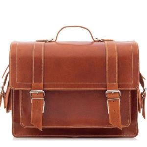 Tornister skórzany i torba vintage 2w1 brązowy BR91