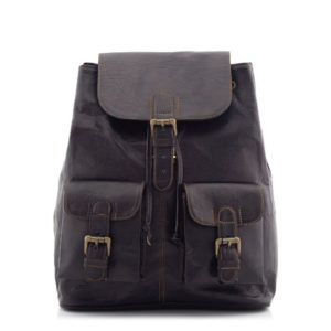 Czarny plecak skórzany vintage Outlander BT10