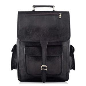 Skórzany plecak męski czarny Outlander BT09