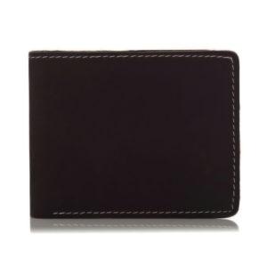 Portfel Slim Wallet męski vintage skórzany ciemnobrązowy