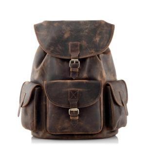 Skórzany plecak męski vintage ciemnobrązowy Outlander
