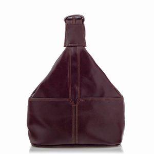 Plecak Skórzany naRamię Damski Burgundowy Telimene RL25
