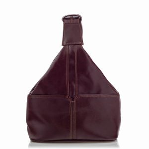 Plecak Skórzany na Ramię Damski Burgundowy Telimene RL25