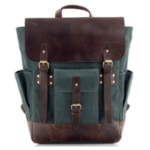 Plecak Vintage Skóra Płótno naLaptopa 15,6 Zielony Forester BF51