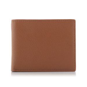 Cienki portfel męski skórzany Slim z bilonówką koniakowy BG03